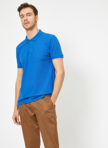 Koton Polo Yaka Kisa Kollu Slim Fit Basic T-Shirt Mavi